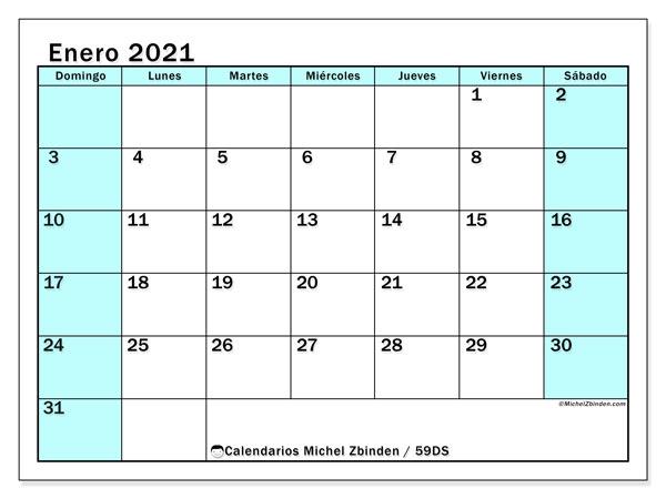 Calendario enero 2021, 59DS. Planificación para imprimir gratis.