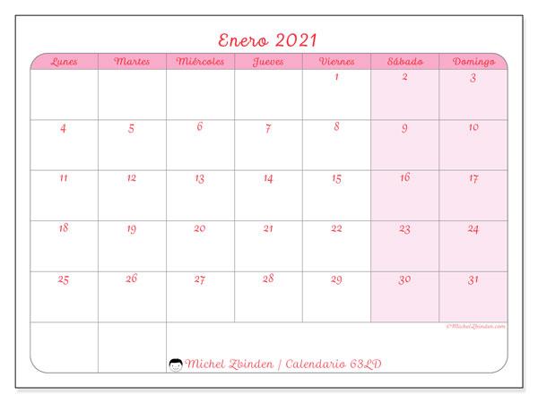 Calendario enero 2021, 63LD. Planificación para imprimir gratis.