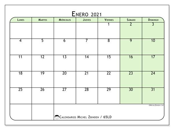 Calendario enero 2021, 65LD. Calendario para el mes para imprimir gratis.