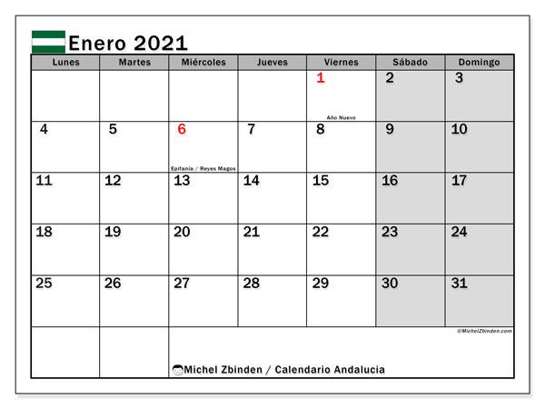 Calendario enero 2021, con días feriados en Andalucía. Calendario vacaciones y festivos para imprimir gratis.