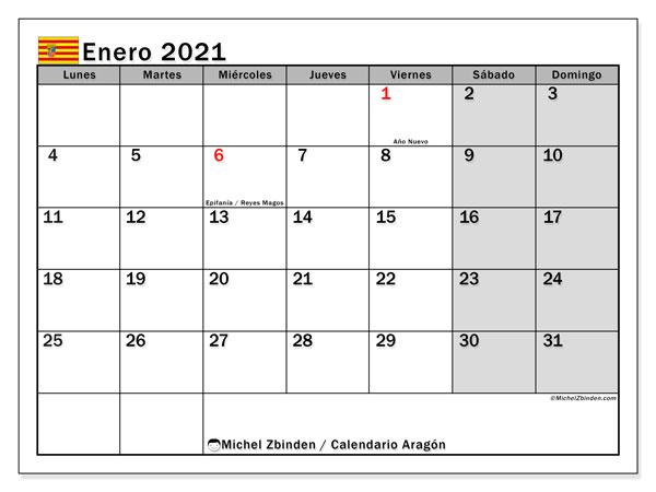 Calendario enero 2021, con días feriados de Aragón. Calendario vacaciones y festivos para imprimir gratis.