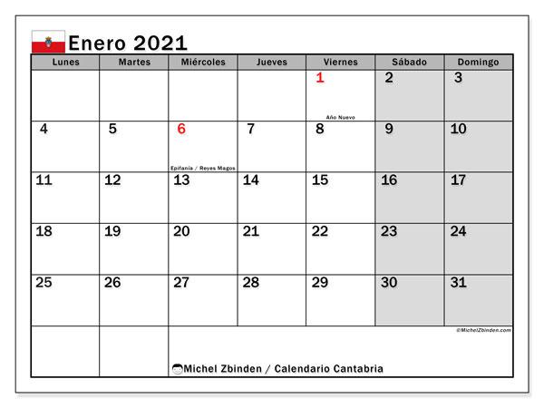 Calendario enero 2021, con días feriados en Cantabria. Calendario vacaciones y festivos para imprimir gratis.
