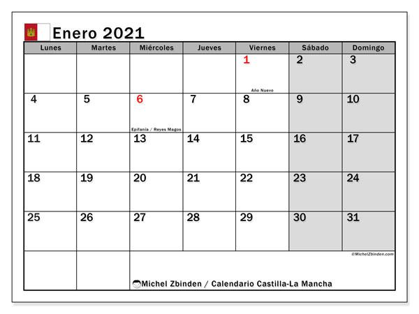Calendario enero 2021, con días feriados en Castilla-La Mancha. Calendario vacaciones y festivos para imprimir gratis.