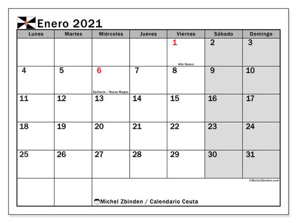 Calendario enero 2021, con días feriados en Ceuta. Calendario para imprimir gratis con días festivos.