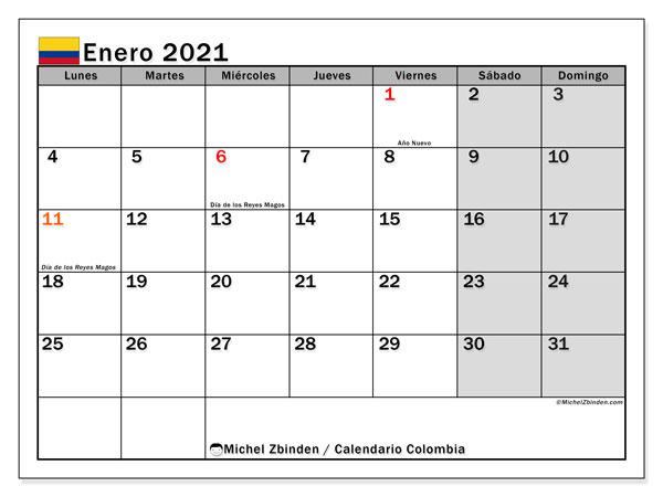 """Calendarios enero 2021 """"Días feriados""""   Michel Zbinden ES"""
