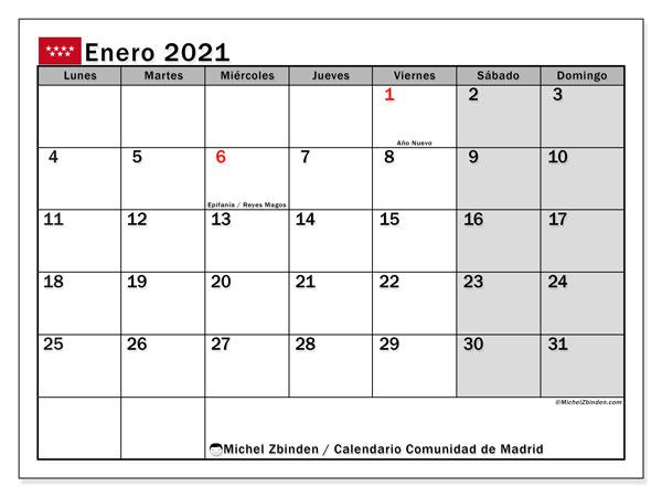 Calendario enero 2021, con días feriados de la Comunidad de Madrid. Calendario para imprimir gratis con días festivos.