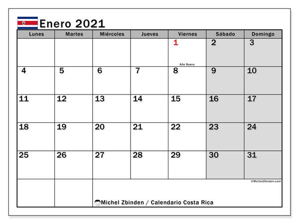 Calendario enero 2021, con días feriados de Costa Rica. Calendario para imprimir gratis con días festivos.