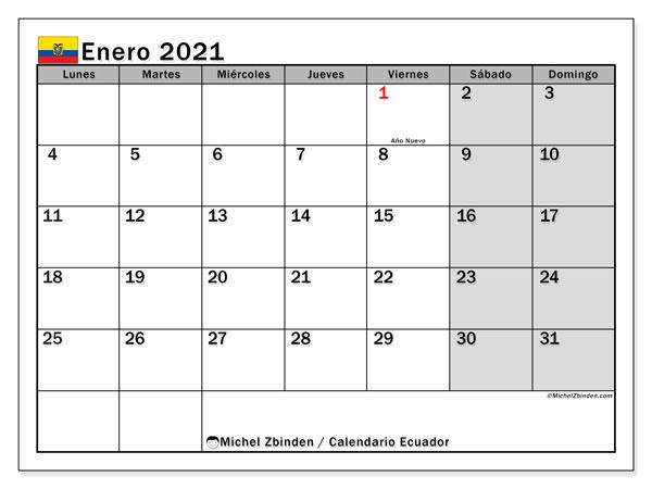 Calendario enero 2021, con días feriados en Ecuador. Calendario para imprimir gratis con días festivos.
