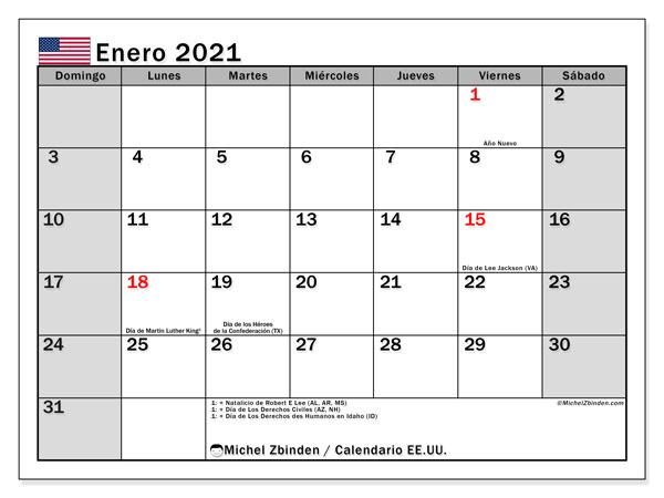 Calendario enero 2021, con días feriados de EE.UU.. Calendario para imprimir gratis con días festivos.