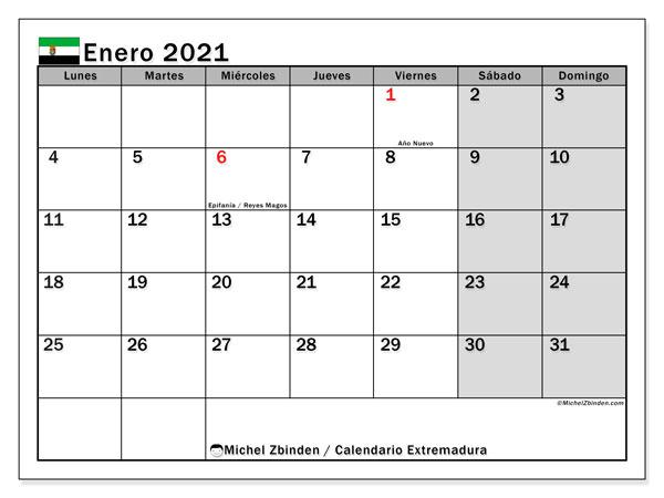 Calendario enero 2021, con días feriados en Extremadura. Calendario para imprimir gratis con días festivos.