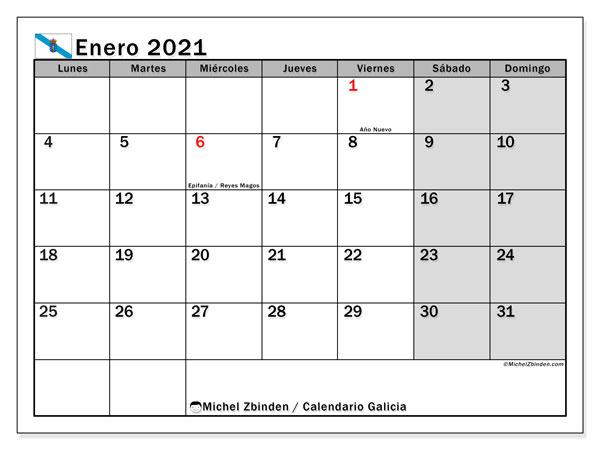 Calendario enero 2021, con días feriados en Galicia. Calendario para imprimir gratis con días festivos.