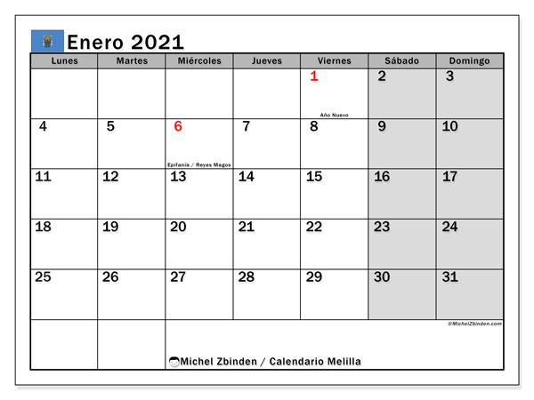 Calendario enero 2021, con días feriados en Melilla. Calendario vacaciones y festivos para imprimir gratis.