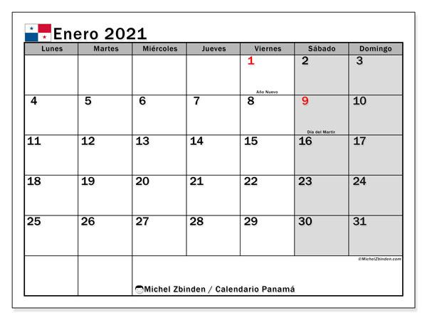 Calendario enero 2021, con días feriados de Panamá. Calendario para imprimir gratis con días festivos.