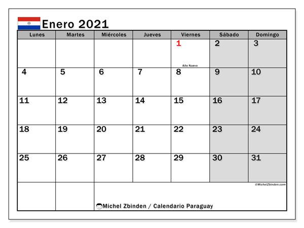 Calendario enero 2021, con días feriados en Paraguay. Calendario vacaciones y festivos para imprimir gratis.