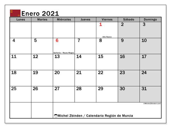 Calendario enero 2021, con días feriados en la Región de Murcia. Calendario para imprimir gratis con días festivos.