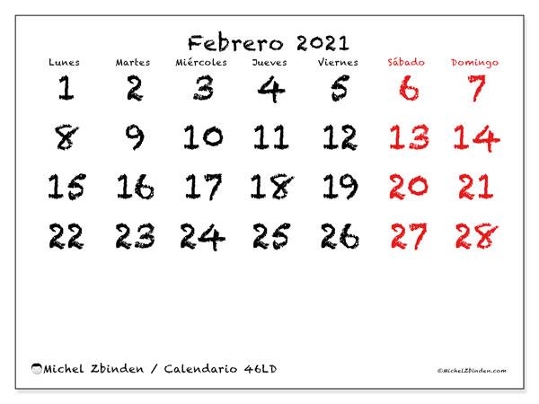 Calendario febrero 2021, 46LD. Calendario para el mes para imprimir gratis.