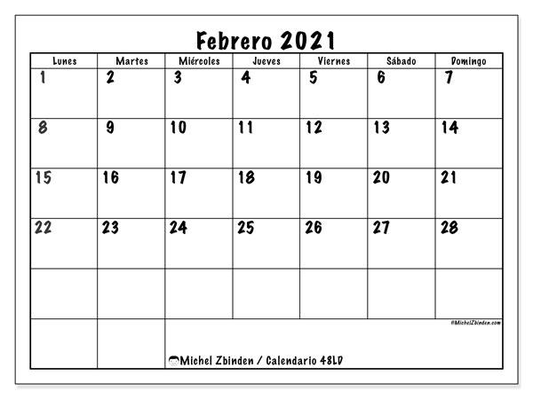 Calendario febrero 2021, 48LD. Calendario gratuito para imprimir.