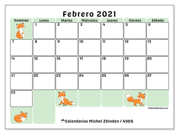 Calendario febrero 2021, 49DS. Almanaque para imprimir gratis.