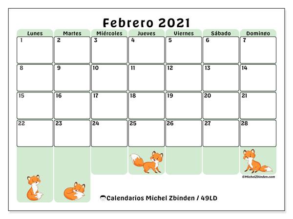 Calendario febrero 2021, 49LD. Calendario para el mes para imprimir gratis.