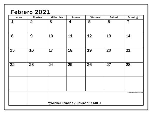 "Calendario ""50LD"" febrero de 2021 para imprimir   Michel Zbinden ES"