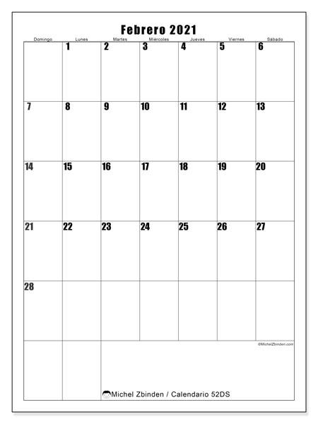 Calendario febrero 2021, 52DS. Calendario imprimible gratis.