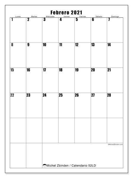 Calendario febrero 2021, 52LD. Calendario para el mes para imprimir gratis.