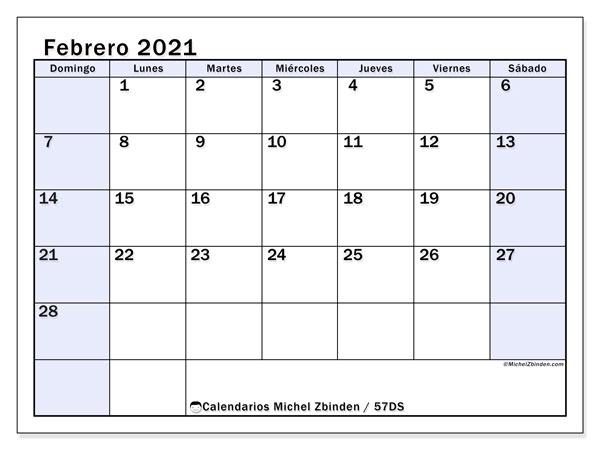 Calendario febrero 2021, 57DS. Calendario mensual para imprimir gratis.