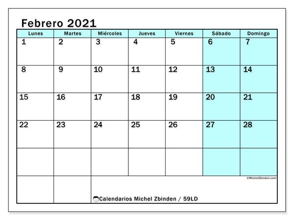 Calendario febrero 2021, 59LD. Calendario mensual para imprimir gratis.