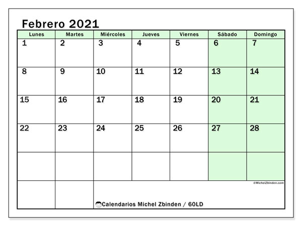 Calendario febrero 2021, 60LD. Calendario imprimible gratis.