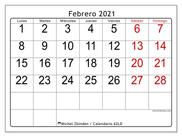 "Calendario ""62LD"" febrero de 2021 para imprimir   Michel Zbinden ES"
