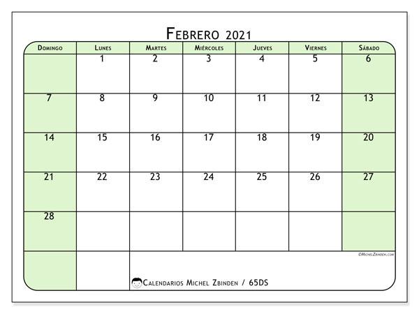 Calendario febrero 2021, 65DS. Calendario imprimible gratis.