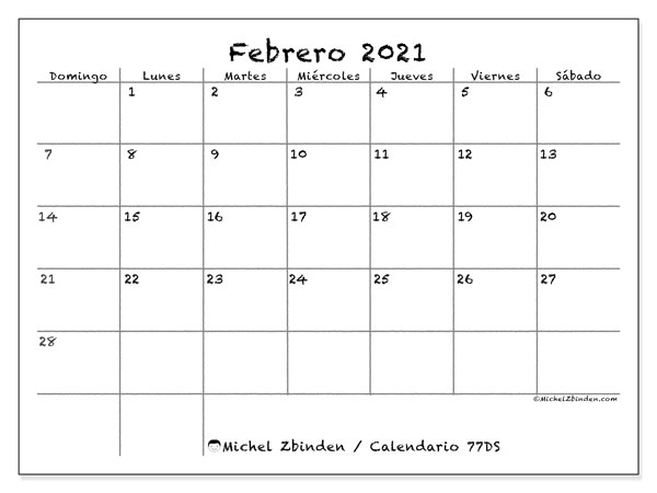 Calendario 77DS, febrero  de 2021, calendario mensual y Array
