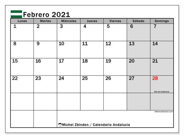 Calendario febrero 2021, con días feriados en Andalucía. Calendario vacaciones y festivos para imprimir gratis.