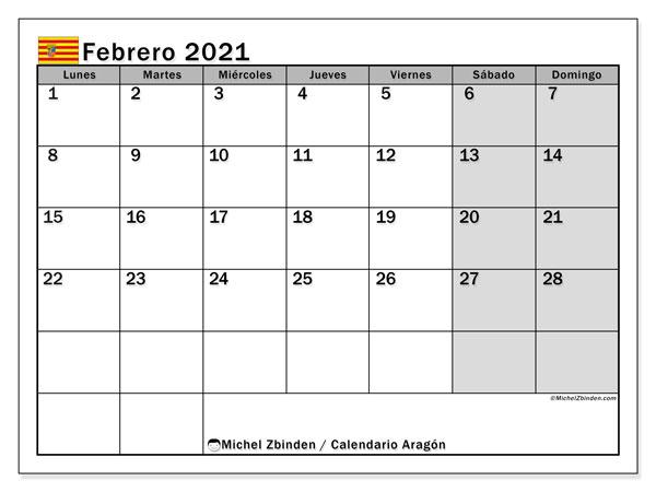 Calendario febrero 2021, con días feriados de Aragón. Calendario para imprimir gratis con días festivos.