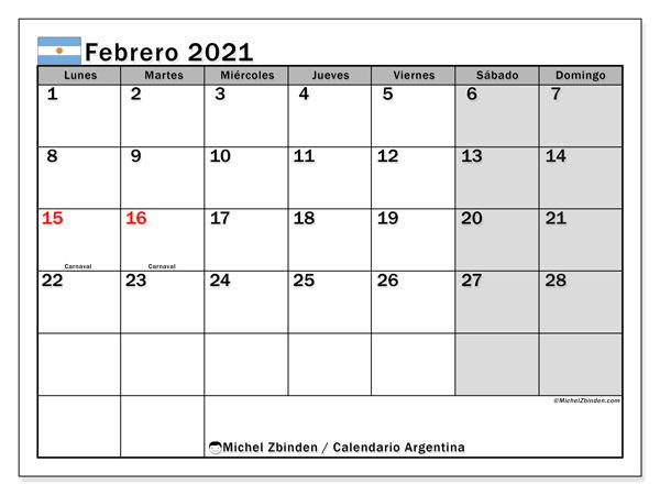 Calendario febrero 2021, con días feriados en Argentina. Calendario para imprimir gratis con días festivos.