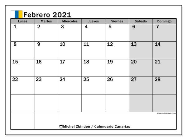 Calendario febrero 2021, con días feriados en las Islas Canarias. Calendario para imprimir gratis con días festivos.