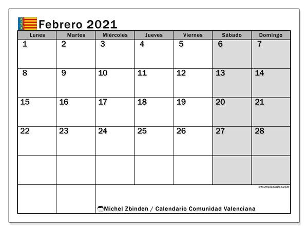 Calendario febrero 2021, con días feriados de la Comunidad Valenciana. Calendario vacaciones y festivos para imprimir gratis.