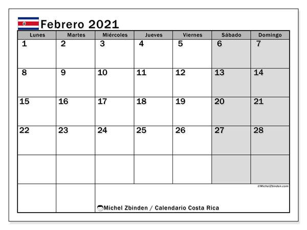 Calendario febrero 2021, con días feriados de Costa Rica. Calendario vacaciones y festivos para imprimir gratis.