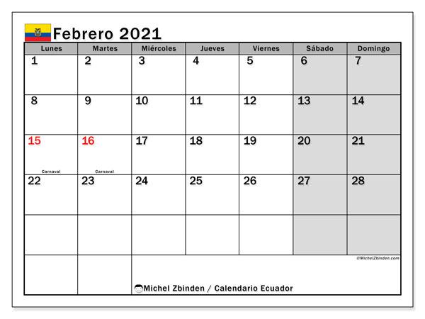 Calendario febrero 2021, con días feriados en Ecuador. Calendario vacaciones y festivos para imprimir gratis.