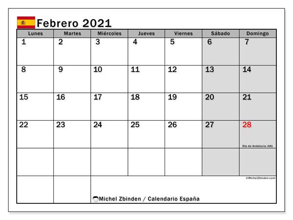 Calendario febrero 2021, con días feriados en España. Calendario vacaciones y festivos para imprimir gratis.