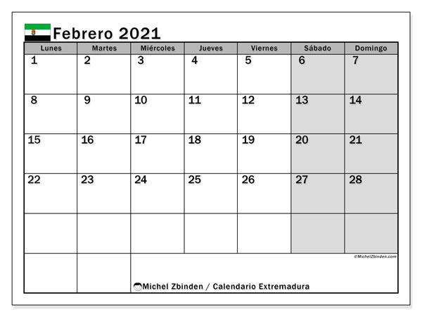 Calendario febrero 2021, con días feriados en Extremadura. Calendario para imprimir gratis con días festivos.