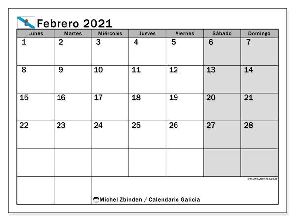 Calendario febrero 2021, con días feriados en Galicia. Calendario para imprimir gratis con días festivos.