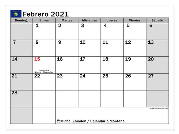 Calendario febrero 2021, con días feriados de Montana. Calendario para imprimir gratis con días festivos.