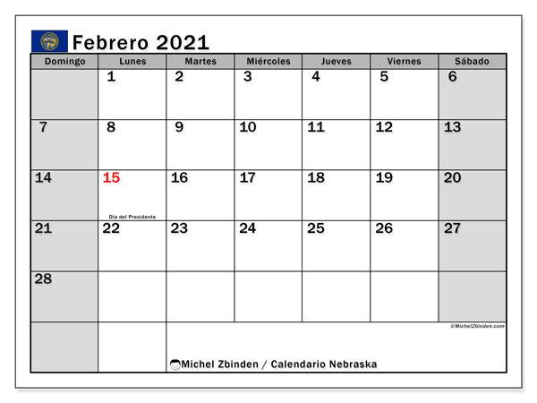 Calendario febrero 2021, con días feriados de Nebraska. Calendario para imprimir gratis con días festivos.