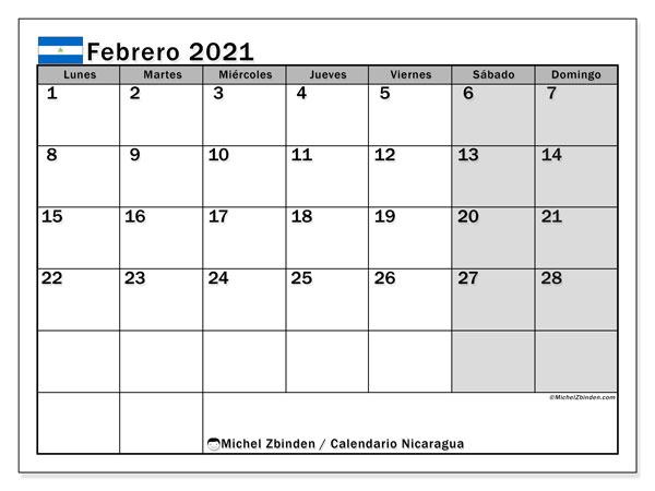 Calendario febrero 2021, con días feriados en Nicaragua. Calendario para imprimir gratis con días festivos.