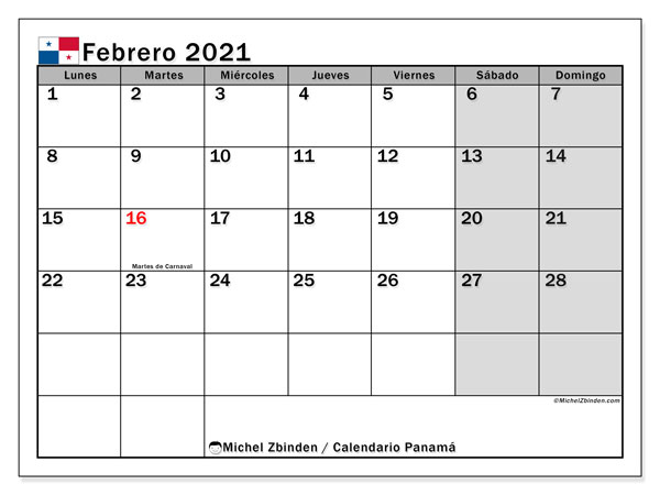 Calendario febrero 2021, con días feriados de Panamá. Calendario para imprimir gratis con días festivos.