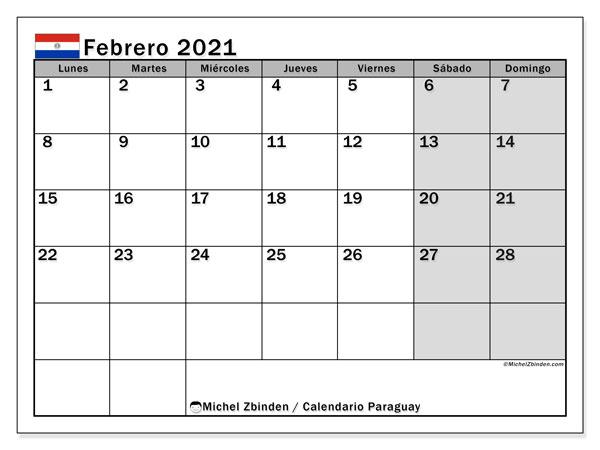 Calendario febrero 2021, con días feriados en Paraguay. Calendario para imprimir gratis con días festivos.