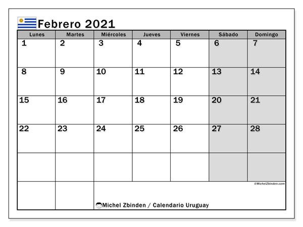 Calendario febrero 2021, con días feriados de Uruguay. Calendario para imprimir gratis con días festivos.
