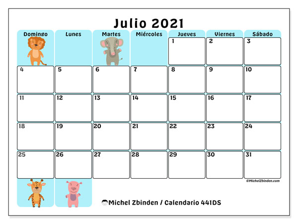 Calendario para imprimir, julio 2021, 441DS