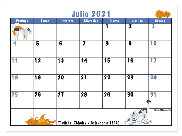 Calendario para imprimir, julio 2021, 481DS